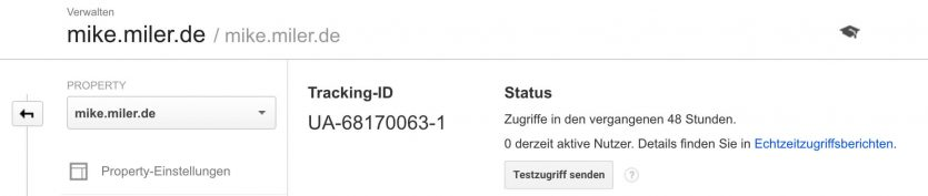Tracking ID von Google Analytics